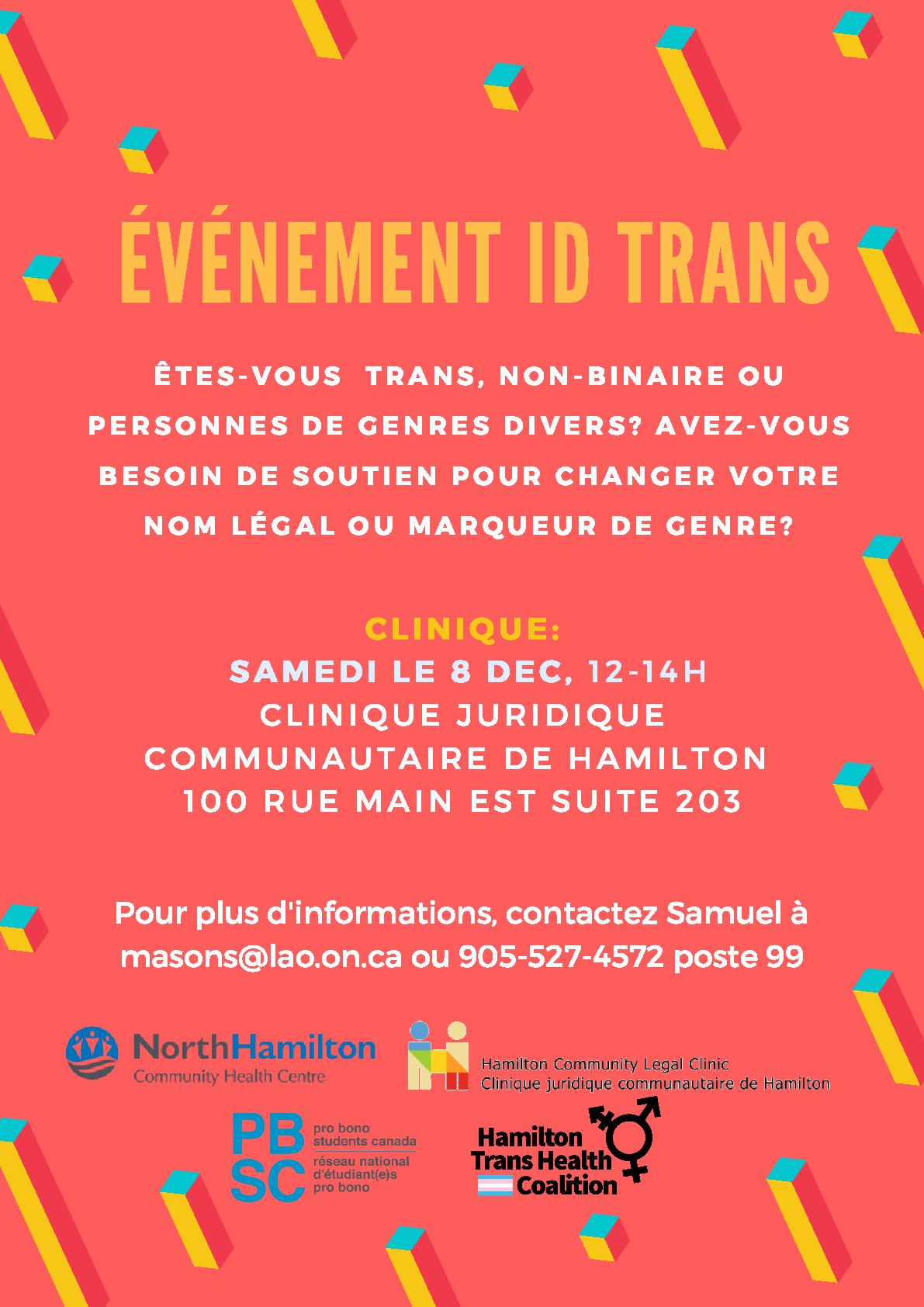 fc7b5a2cd4b30b Sat Dec 5th  A Trans ID Clinic (in English and French!) – Hamilton ...