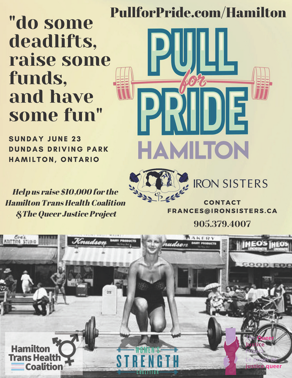 Pull for Pride Hamilton event poster, Sunday June 32rd at noon at Dundas Driving Park