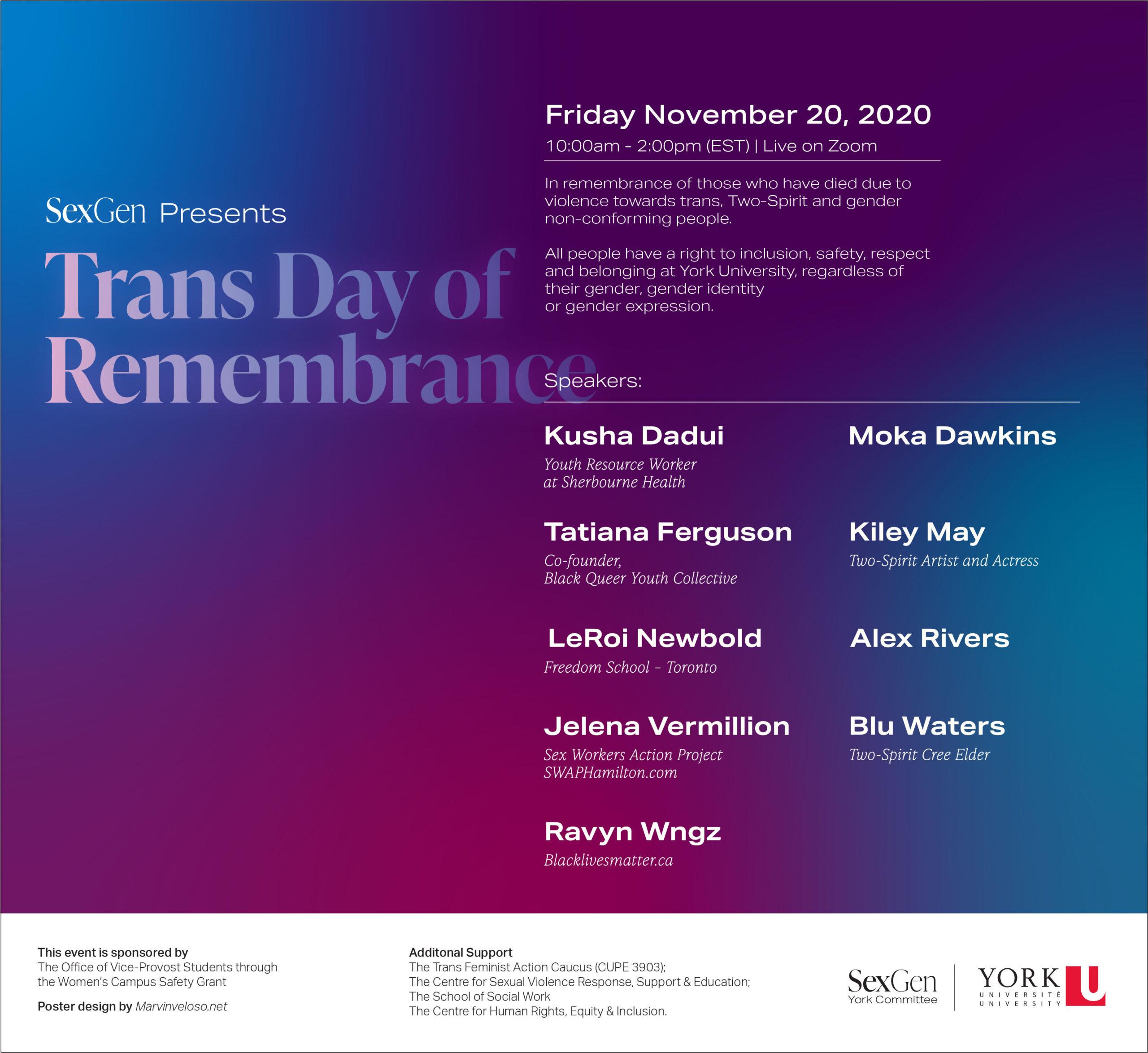 Trans Day of Remembrance (Nov 20)