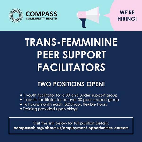 Job Opportunity: Trans-Femminine Peer Support Facilitators (Mar 8)